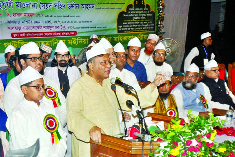 Information Minister Dr Hasan Mahmud speaking at a discussion and milad mahfil on the occasion of holy Eid-e-Miladunnabi organised by Ashekane Gauchia Rahmania Moinia Sahidia Maizbhandari at Mahanagar Natyamancha in the city on Sunday.