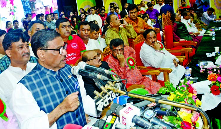 General Secretary of Awami League and Road Transport and Bridges Minister Obaidul Quader addressing the conference of Swechchhasebak League, Dhaka Mahanagar Dakshin in the auditorium of Engineers Institution in the city on Monday.