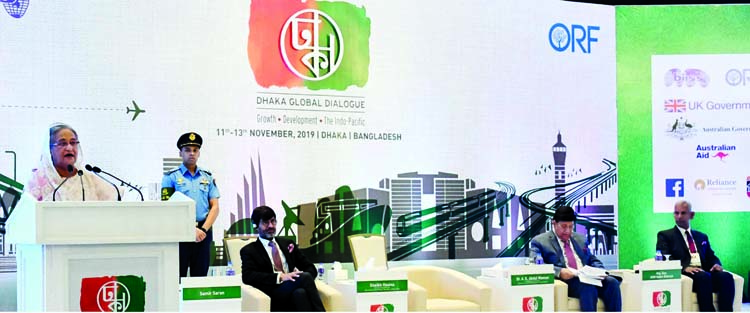 Prime Minister Sheikh Hasina addressing the inaugural ceremony of 'Dhaka Global Dialogue-2019' at Hotel Intercontinental in the city on Monday.