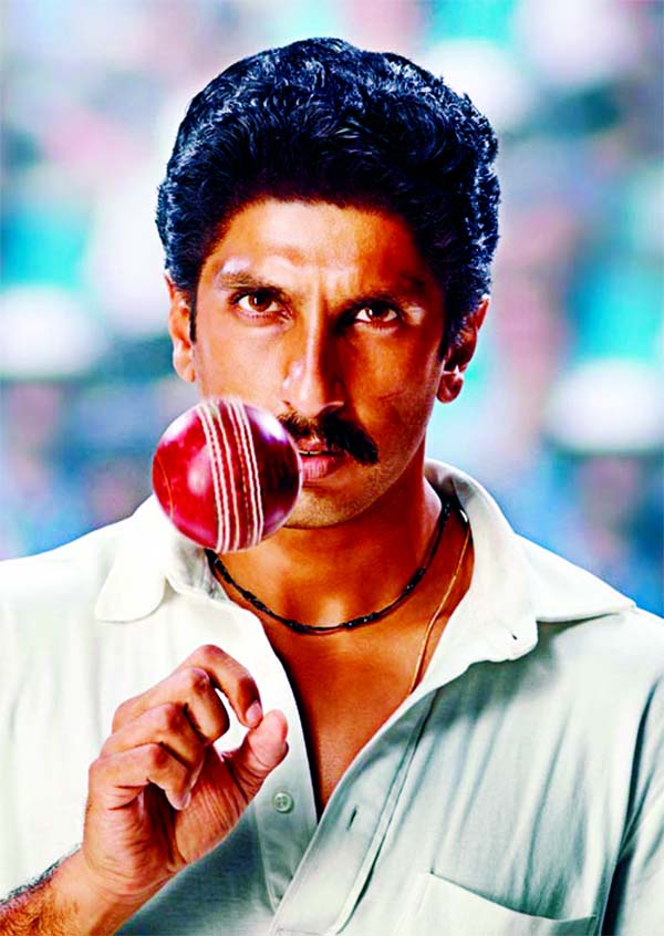 Ranveer Singh as 'Kapil Dev in action'