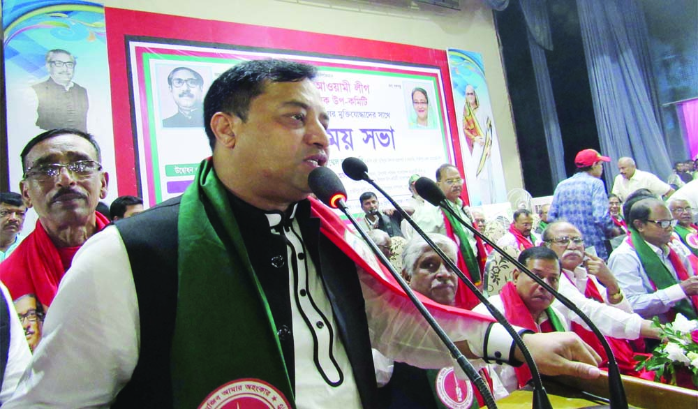 GAZIPUR: Adv Mohammad Jahangir Alam , Mayor, Gazipur City Corporation speaking at a view exchange meeting with freedom fighters of Dhaka and Mymensingh districts organised by  Sub- Committee of  Liberation War  Affairs ,  Bangladesh Awami League  at Shaheed Bangataj Auditorium in Gazipur City  recently.