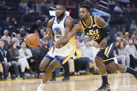 Utah Jazz forward Jeff Green (22) knocks the ball from Golden State Warriors forward Eric Paschall (7) in the first half of an NBA basketball game in San Francisco on  Monday.