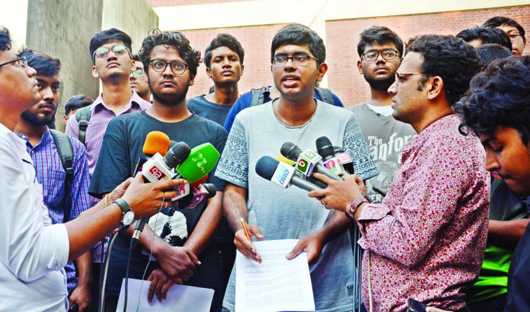 On behalf of agitated BUET students Aniruddha briefing journalists about various demands on BUET student Abrar killing.