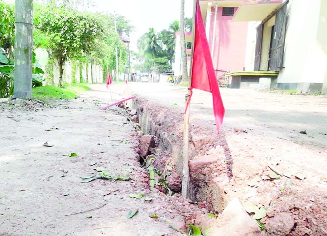 GOPALGANJ:   Five food godowns  facing  threat as Pachauriya- Mohammadpara Road at Gopalganj Sadar Upazila  as cracks have suddenly been  developed on the road.  This snap was taken on Wednesday.