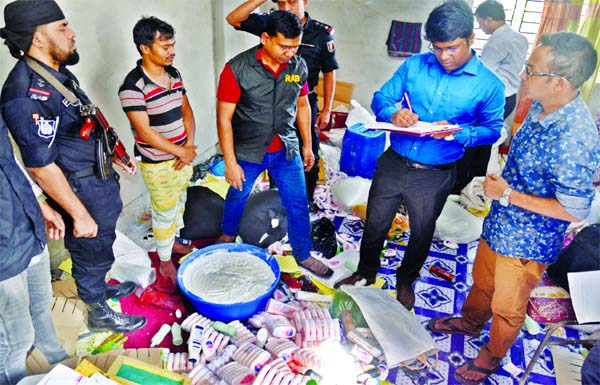 A RAB-3 mobile court led by a magistrate raided another two fake cosmetic factories at Bangshal in Dhaka on Thursday, jailing one for producing counterfeit products of renowned bands and realises taka 3 lakh as fine.