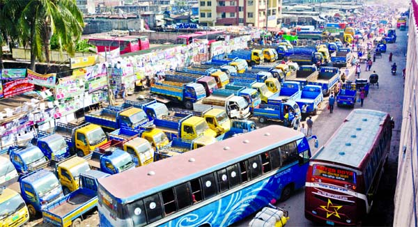 An influential quarter set up illegal truck stand on Dhaka-Chattogram Highway near Jatrabari Kancha Bazar, occupying free spaces there troubling movement of vehicles and pedestrians.