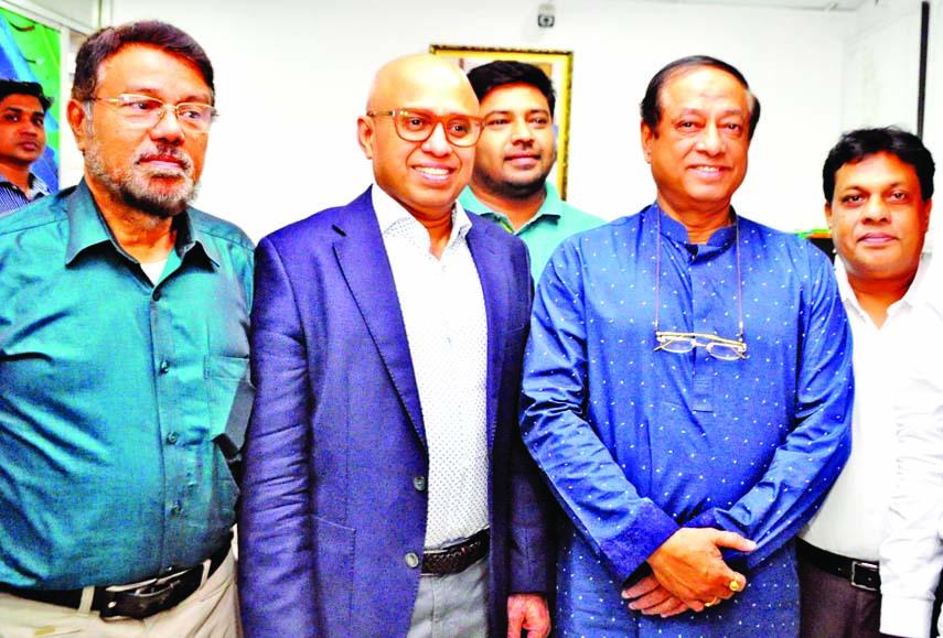 Managing Director of Conveyor Logistics Limited Kabir Ahmed greets Major General (Retd) Masud Uddin Chowdhury, MP at the latter's office in the city's Banani on Saturday marking his (Masud) birthday.