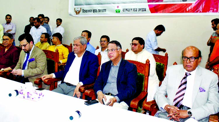 BNP Secretary General Mirza Fakhrul Islam Alamgir along with other distinguished persons at a discussion organised on the occasion of the 54th birth anniversary of Acting Chairman of BNP Tarique Rahman by Uttaranchal Chhatra Forum in the Supreme Court Bar Auditorium on Monday. BNP Vice-Chairman Advocate  Khondkar Mahbub Hossain was present on the occasion.
