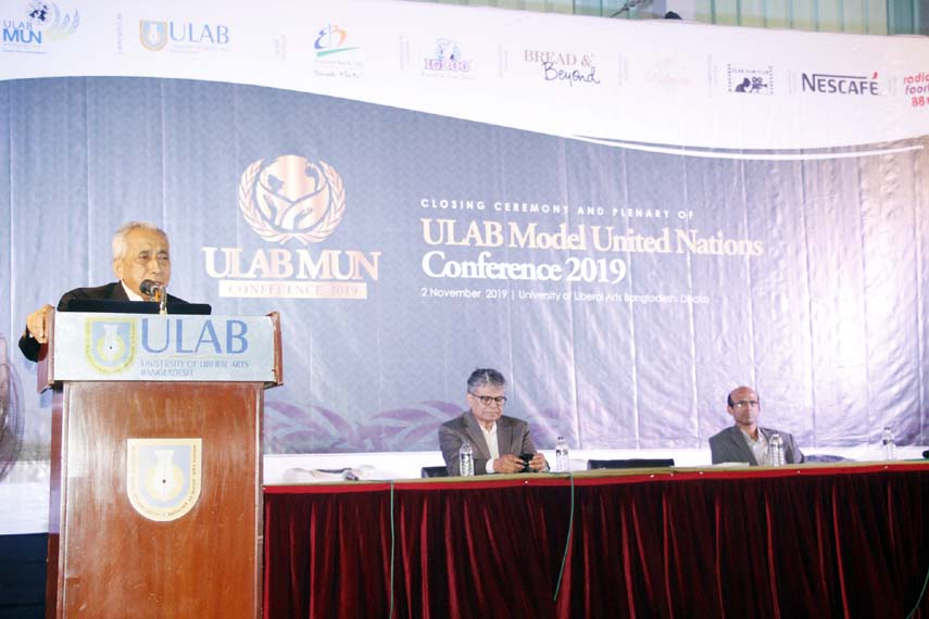 Ambassador Mohammed Mohsin speaks at the 3-day Model United Nations Conference 2019 organized by the University of Liberal Arts Bangladesh at the city's Mohammadpur area on Saturday.