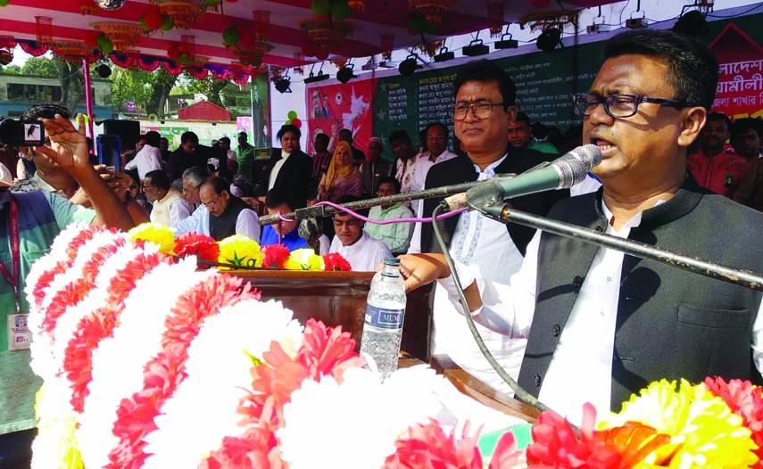 JHENAIDAH: Whip of Jatiya Sangsad Abu Sayeed Al Mahmood Swapon MP speaking at Kaliganj Awami League Conference as Chief Guest on Sunday.
