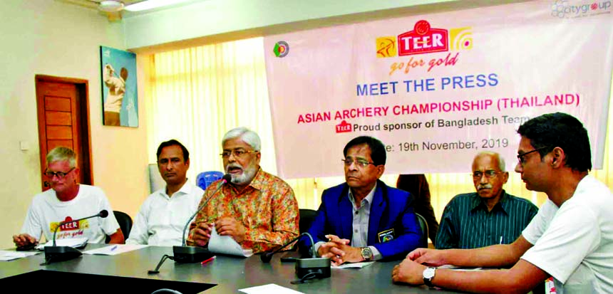 General Secretary of Bangladesh Archery Federation Kazi Rajib Uddin Ahmed Chapol addressing a press conference at the conference room in National Sports Council Tower on Tuesday.