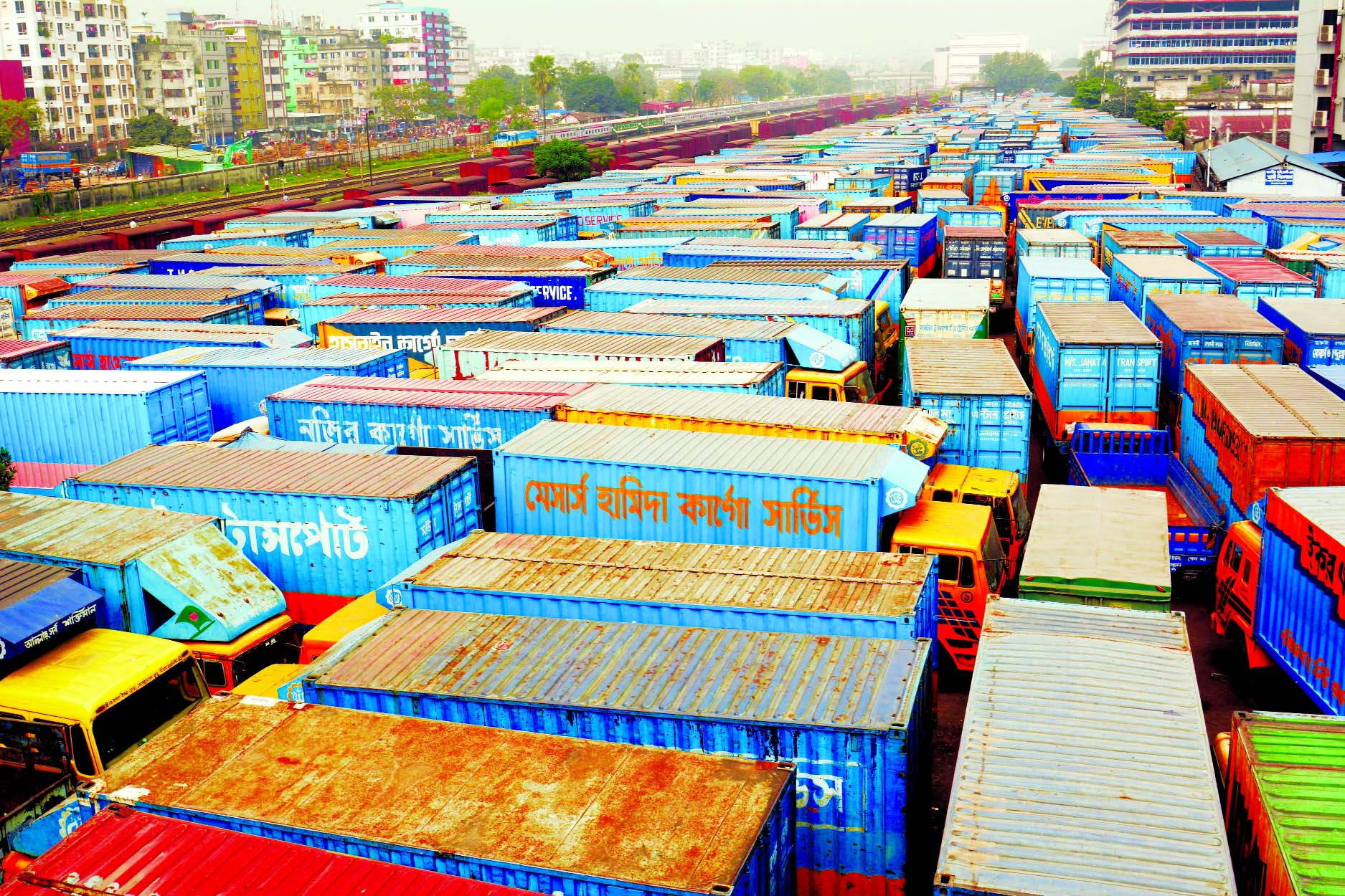 Thousands of trucks, covered vans remain parked and halted for an indefinite period from today (Wednesday), demanding reformation of new Road Transport Act (RTA) organised by Truck, Covered Van Owner-Worker Oikya Parishad. This photo was taken from Tejgaon area on Tuesday.