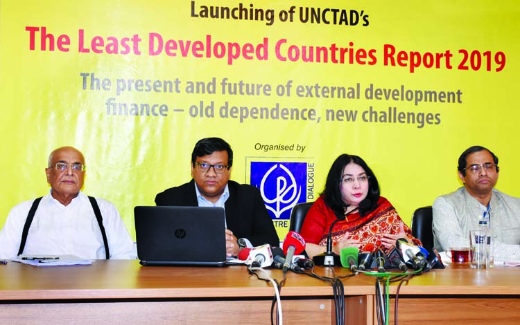 CPD Fellow Debapriya Bhattacharya, among others, at a prèss conference on  unveiling of report of The Least Development Countries-2019 at Palton Tower in the city on Wednesday.