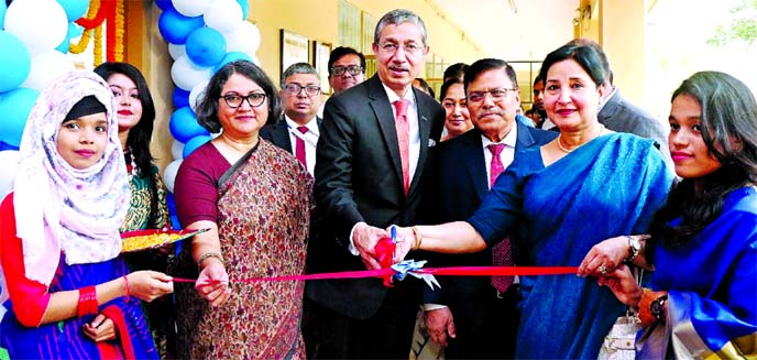 Emranul Huq, AMD of Dhaka Bank Limited along with Parveen Mahmud, Chairperson of BOG, UCEP Bangladesh, inaugurating an Electric Lab in UCEP Institute of Science & Technology (UIST) at city's Mirpur area on Monday. J L Bhowmik, Vice-Chairman, UCEP Bangladesh BOG and Tahsinah Ahmed, President of UIST Management Committee were also present.