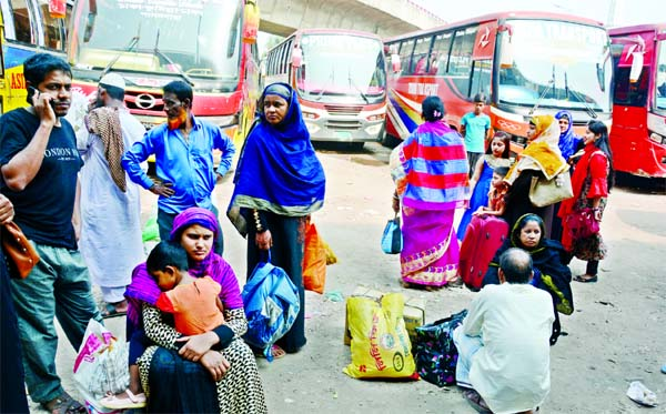 Passengers face immense sufferings as no inter-district buses departed from the Sayedabad bus terminal due to transport strike on Wednesday.