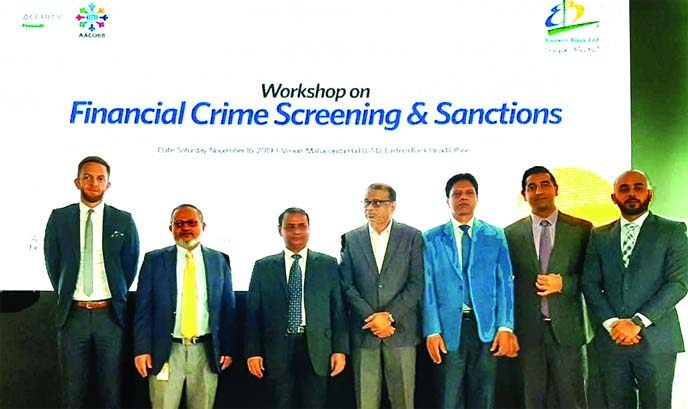 Abu Hena Mohd. Razee Hassan, Head of Bangladesh Financial Intelligence Unit (BFIU) and Co-chair of Asia Pacific Group in Money Laundering (APG), attended at a half-day training workshop on 'Anti-Money Laundering Compliance'  jointly organised by Eastern Bank Limited (EBL) and Accuity and Association of Anti-Money Laundering Compliance Officers of Banks in Bangladesh (AACOBB) at its head office in the city recently. Senior officials from various financial institutions were also present.
