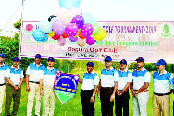 GOC of 11th Infantry Division and Bogura Area Commander Major General Md Saiful Alam inaugurating the 3rd Popular Life Insurance Cup Golf Tournament by releasing the balloons as the chief guest at Bogura Golf Club in Bogura Cantonment recently. High officials of Bangladesh Army and high officials of Popular Life Insurance Company Limited were present at the time.