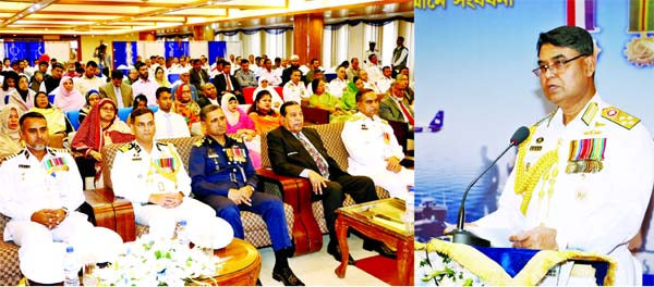 Chief of Naval Staff Admiral Aurangzeb Chowdhury speaking at a ceremony organised in observance of Armed Forces Day-2019 at Sagoraka Hall of Navy Headquarters in the city's Banani on Thursday.