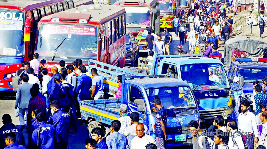 A long tailback was created on Dhaka-Aricha highway on Thursday following setting up check posts at several points by police, causing huge suffering to the commuters.