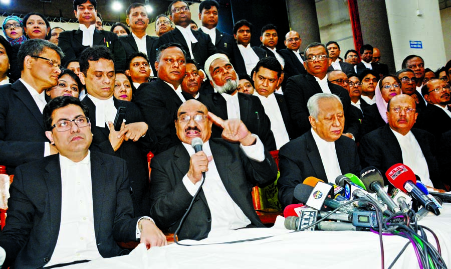 Advocate Yousuf Hossain Humayun speaking at a press conference organized by Bangabandhu Awami Ainjibi Parishad at the north hall of the Supreme Court Bar Association (SCBA) on Thursday.