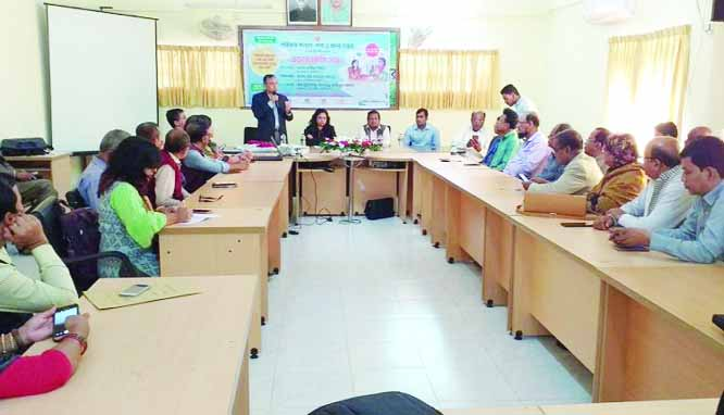 SYLHET: Mohammad Abdullah Al-Mamun , Director (Activities) speaking as Chief Guest at a divisional workshop at the Conference Room of Deputy Commissioner on Monday.