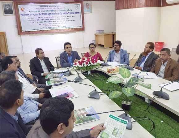 Upazila Nirbahi Officer Md Saidul Arefin speaking as Chief Guest at a workshop organised by Forest Research Institute(BFRI) at Fatikchhari  on Thursday.