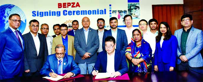 China-Bangladesh jointly owned M/s. Ship-Smart Data Technology (Bangladesh) Co., Limited is going to set up a high-tech data connecting cable manufacturing industry in Chattogram EPZ. Regarding this Bangladesh Export Processing Zones Authority (BEPZA) and the company signed an agreement while Executive Chairman of BEPZA Major General S M Salahuddin Islam and Zhonggui Zhang, Director of the company took part in the deal signing ceremony at BEPZA complex in the city recently.