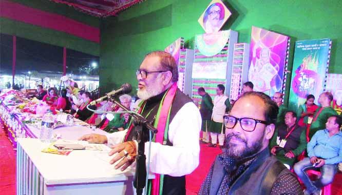 GAZIPUR:   Liberation War Affairs Minister AKM Mozammel Haque MP addressing  the inaugural programme of Bijoy Mela  at Rajbari organised by Sammilito Sanskritik Jote on Saturday.
