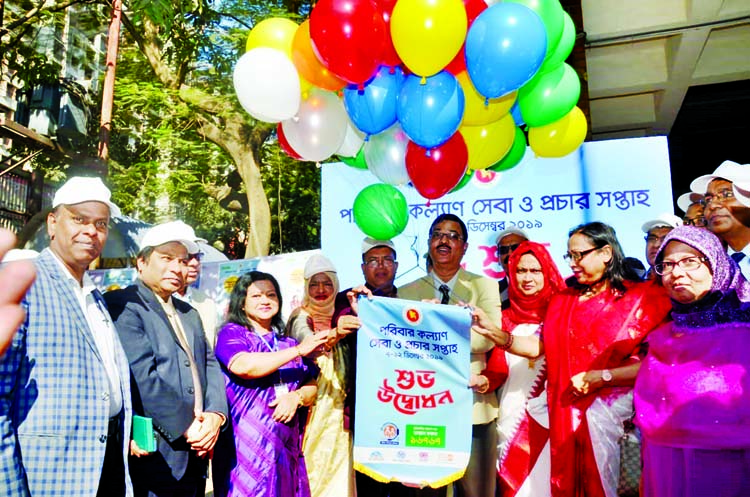 Sheikh Yousuf Harun, Secretary,  Education and Family Welfare Division of Ministry of Health inaugurating Family Welfare Service and Campaign Week -2019 at Maternal and Child Health Training Institute, Azimpur in the city on Saturday . Dr Ishrat Jahan, Superintendent of the Institute was also present .