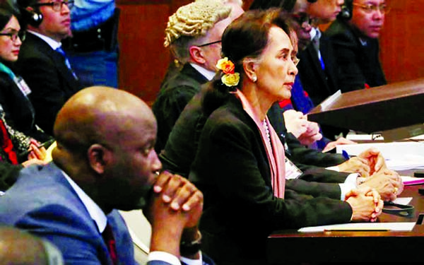 Gambia's Justice Minister Abubacarr Tambadou and Myanmar's leader Aung San Suu Kyi attend the hearing at the International Court of Justice (ICJ) in The Hague, Netherlands on Tuesday.