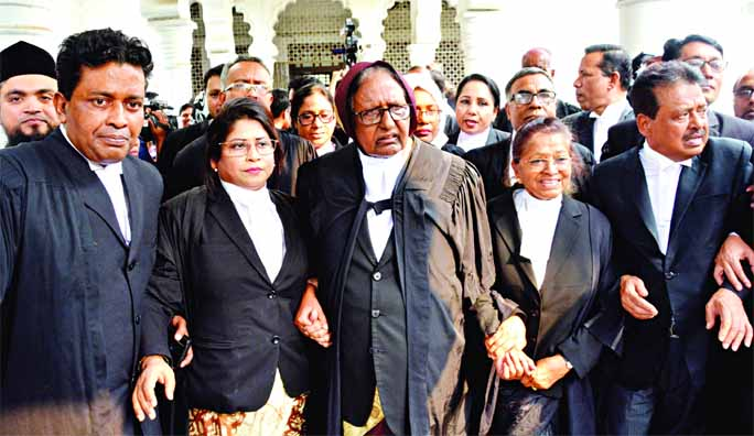 Pro-Awami League lawyers bring out procession at the Supreme Court premises on Thursday, supporting the Appellate Division's order on BNP Chairperson Khaleda Zia's bail prayer in the Zia Charitable Trust graft case.