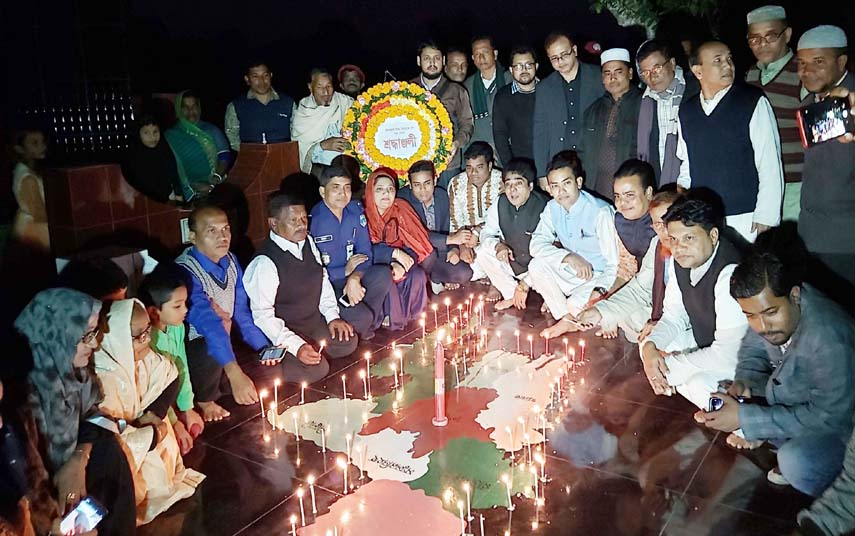 Fatikchhari District Administration arranged candle light lighting programme at Lalang Graveyard  in observance of the Martyred Intellectuals Day on Saturday.