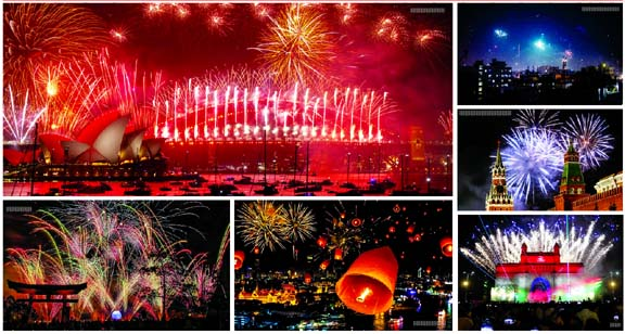 New Year 2020 celebration  in different countries