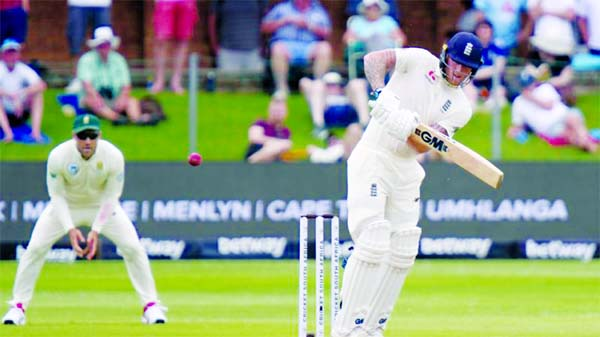 Ben Stokes of England, plays a shot on the second day of the third Test match between England and South Africa at Port Elizabeth in South Africa on Friday. Stokes scored 120 runs.