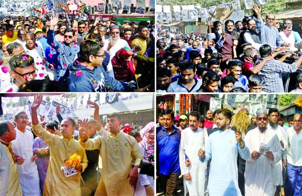 AL mayoral candidates for DSCC and DNCC Skeikh Fazle Noor Taposh and Atiqul Islam are seen busy in electioneering in the city's Phulbaria Bus Stand and Gabtoli areas on Friday, while BNP mayoral candidates Tabith Awal and Ishraque Hossain campaigning at city's Mohammandpur and Kadamtoli areas.