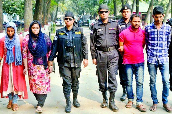 Four members of an organised gang including two female abductors were arrested by RAB-1 and rescued a 16th-month old abducted child from Gachha area in Gazipur on Sunday.