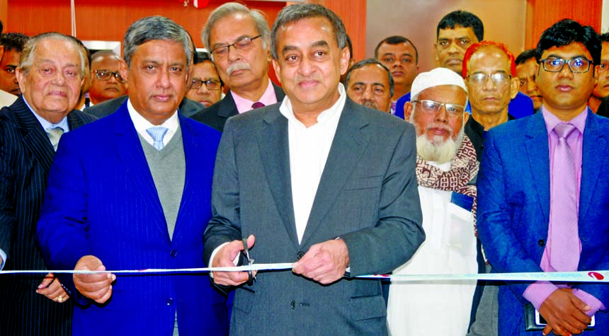 Sayeed H. Chowdhury, Chairman of ONE Bank Limited, inaugurating its 103rd branch at Chowgacha in Jashore on Tuesday. Zahur Ullah, EC Chairman, ASM Shahidullah Khan, Kazi Rukunuddin Ahmed, Directors and M. Fakhrul Alam, Managing Director of the bank, were also present.