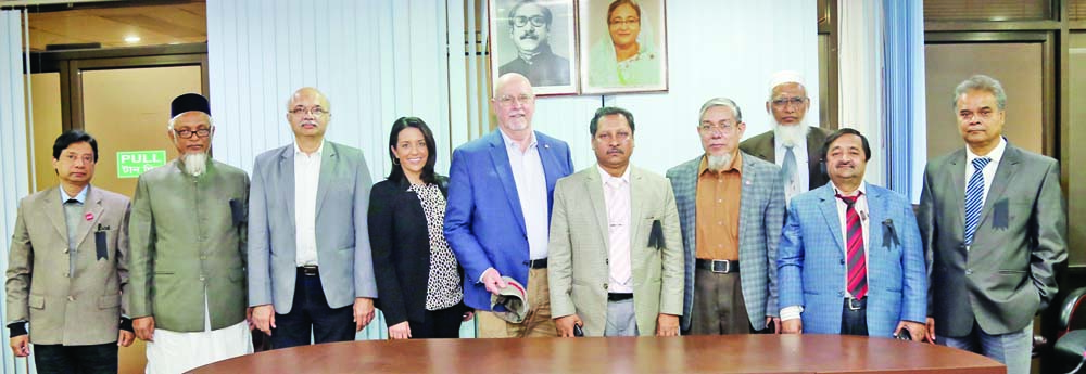 GAZIPUR: A four-member delegation of Feed the Future (FtF) Biotech Projects (Potato & Brinjal) has visited Bangladesh Agricultural Research Institute (BARI) yesterday. In a photo-session at  DG's conference room (from right) BARI Director (Planning , Evaluation) Dr. Md. Nazirul Islam, Director (Support , Services) Md. Habibur Rahman Sheikh, Director (Training , Communication) Dr. Md. Miaruddin, Md. Jahangir Hossain Ph.D,  and Country Project Director, FtF Biotech Projects (Potato , Brinjal), Bangladesh; BARI Director General Dr. Abul Kalam Azad, Dr. Ronnie Coffman were present.
