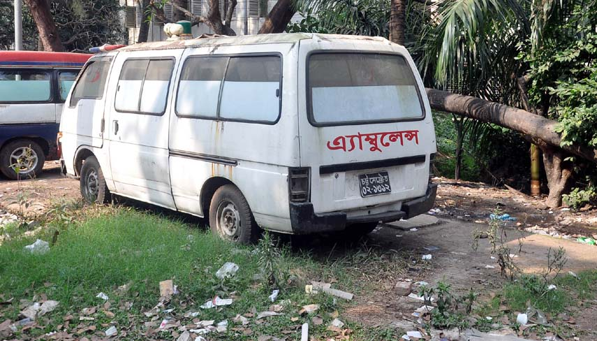 An ambulance of Chattogarm Medical College Hospital has been lying abandoned under the open sky for a long time and the authority concern yet to take any step in this regard .  This picture was taken yesterday.