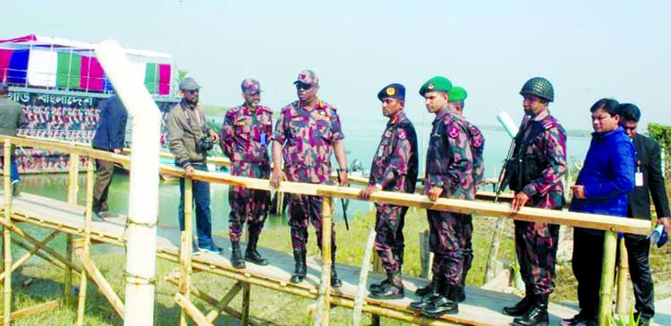 Director General of Border Guard Bangladesh Major General Safinul Islam visited floating BOP at the water border area in Sundarbans on Wednesday.