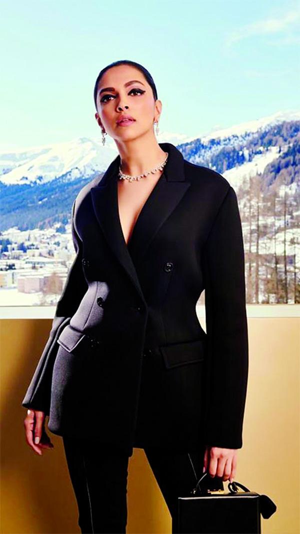 Deepika makes a statement in a black pantsuit