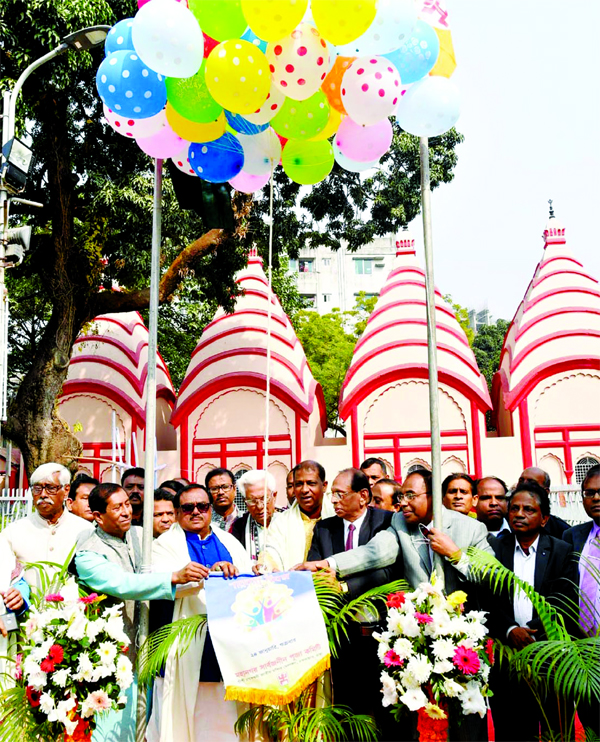 Food Minister Sadhan Chandra Majumder inaugurates the family day of Mahanagar Sarbajanin Puja Committee at Shri Shri Dhakeshwari National Temple organised by the committee on Friday.