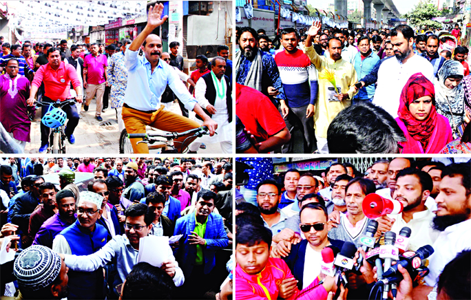 AL mayoral candidates for DNCC and DSCC Atiqul Islam and Sheikh Fazle Noor Taposh are seen busy in electioneering in the city's Kalachandpur and Babubazar Bridge area in old Dhaka, while BNP mayoral candidates for DNCC election Tabith Awal and DSCC election Ishraque Hossain in their campaigns in Pallabi area in Mirpur and Roy Shaheb Bazar area respectively on Saturday.