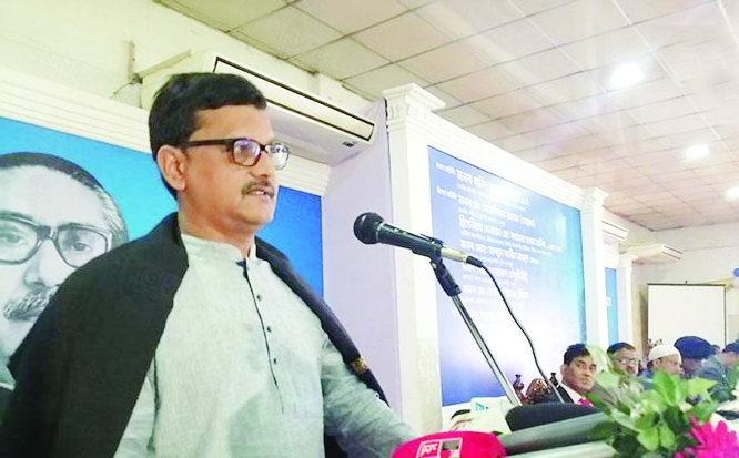 RANGPUR: State Minister for Shipping Khalid Mahmud Chowdhury MP addressing  a discussion meeting  on the occasion of the International Customs Day at Shitol Community Centre in Rangpur as Chief Guest yesterday.