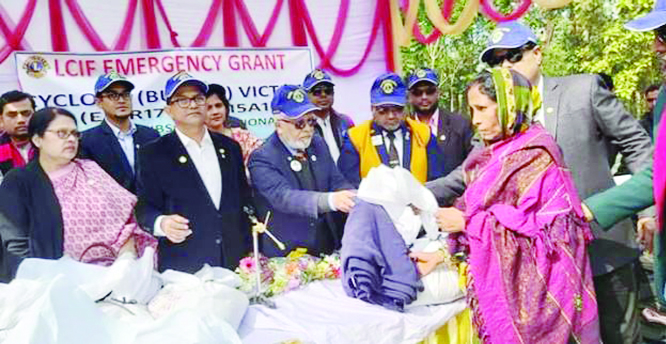 KHULNA : Leaders of  Lions Club International  District 315A1 Bangladesh distributing  LCIF emergency grant of relief to the victims of cyclone Bulbul in Khulna, Bagerhat and Satkhira districts recently.