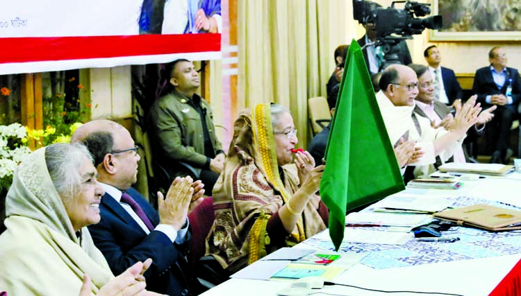 Prime Minister Sheikh Hasina inaugurating Jamalpur Express train on Tarakandi-Jamalpur-Dhaka route, Rajbari Express  on Pachuria-Faridpur-Bhanga route,  Bhanga, Dhalarchar Express  on Dhalarchar-Pabna-Rajshahi route, Udayan and Paharika Expresses on Sylhet-Chattogram route   through video conferencing from  Ganabhaban  yesterday.