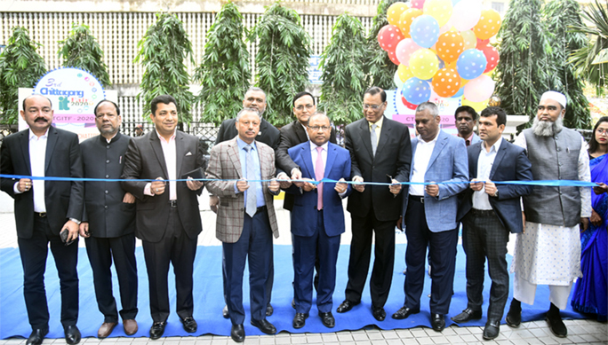 Local Government Division Minister Md Tajul Islam MP and Mahbul Alam, President,  Chattogram Chamber of Commerce and Industry  inaugurating the 3rd  Chattogram  IT Fair  in the Port City recently.