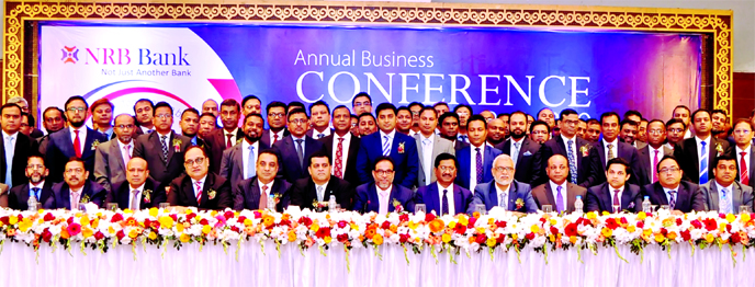 Mohammed Mahtabur Rahman, Chairman of NRB Bank Limited, inaugurating its 'Annual Business Conference- 2020' at a hotel in the city on Saturday. Tateyama Kabir, Kamal Ahmed, Vice Chairmen, M Badiuzzaman, EC Chairman, Imtiaz Ahmed, Audit Committee Chairman and Dr. Nesar Ahmed Choudhury, Risk Management Committee Chairman of the bank, were also present.