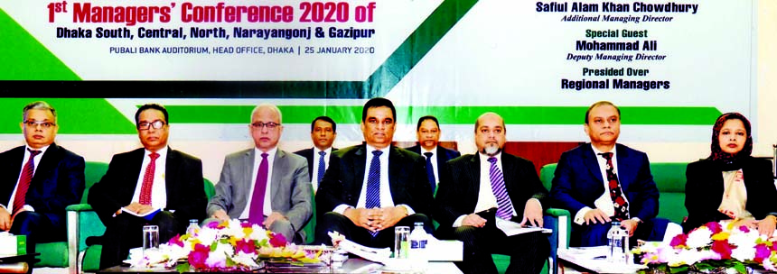 Md. Abdul Halim Chowdhury, Managing Director of Pubali Bank Limited, presiding over its 1st Managers' Conference-2020 of Dhaka South, North, Central, Gazipur and Narayangonj regions at bank's head office in the city recently. Safiul Alam Khan Chowdhury, AMD, Mohammad Ali, DMD, of the bank were also present.