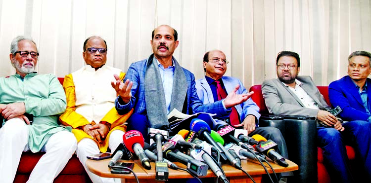 Awami League nominated mayoral candidate of Dhaka North City Corporation Atiqul Islam speaking at a view-exchange meeting with journalists at the Jatiya Press Club on Tuesday.
